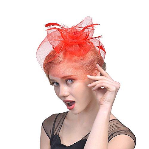 iKulilky Mujer Malla flor Pill Box sombrero Muelle Fascinator Sombrero boda joyas pelo tocado para fiestas Iglesia Cóctel, rojo, talla única