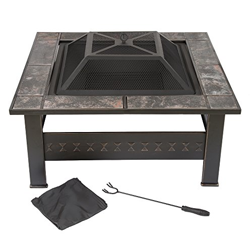 """Fire Pit Set, Wood Burning Pit -Includes Screen, Cover and Log Poker- Great for Outdoor and Patio, 32 Inch"""" Marble Tile Square Firepit by Pure Garden"""