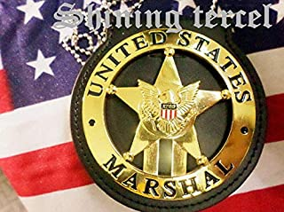 Shining Tercel - Obsolete Gold Five-Pointed Star 1789 U.S Marshal TV Series/Movie Prop pin Back with Belt Clip Leather Holder and Neck Chain
