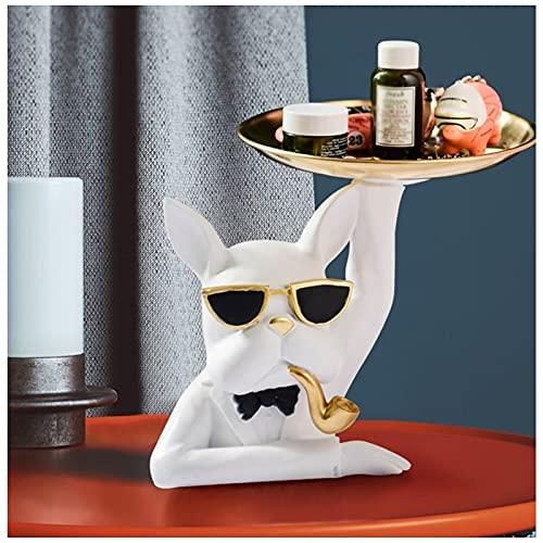 KHUY Bandejas Oficina Perro único Doggy Decorative Vaciabolsillos Moderno Key Bandeja Organizer con Gafas Sol, Organizador Llaves Platos Decoracion Resina Arte Figurines Decor (Color : White)