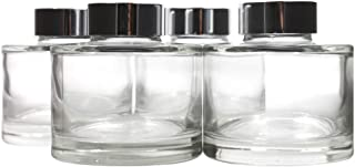 Frandy House Glass Diffuser Bottles in Bigger Bottle Caliber with Silver Caps Set of 4-2.9