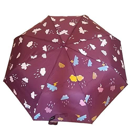 G4G Paraguas Que Cambia de Color con la Lluvia, para Mujeres, Hombres, pequeño, para Bolsillo, con Apertura automática, con Las Medidas de 56 cm Azul y Morado. (Morado)