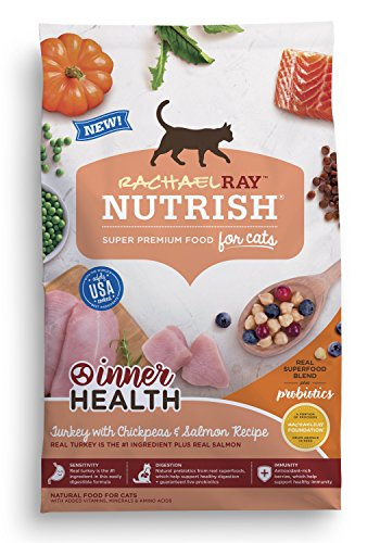 Rachael Ray Nutrish Inner Health Premium Natural Dry Cat Food, Turkey with Chickpeas & Salmon Recipe, 3 Pounds
