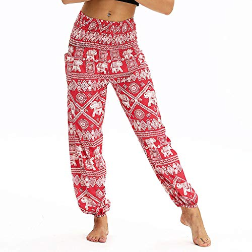 Xmiral Yoga Hosen Damen Lose Sporthose Elastische Taille Gedruckte Sweatpants Strandhosen Freizeithosen Training Hose(Rot 2,One Size)