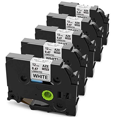 Anycolor Kompatible TZe-231 Schriftband als Ersatz für Brother TZ 12mm 0.47 Etiketten, 5 Pack Laminiertes TZe231 TZ-231 Tze 12mm für Brother P-touch H110 H105 D200 D210 D400VP 1010, schwarz auf weiß