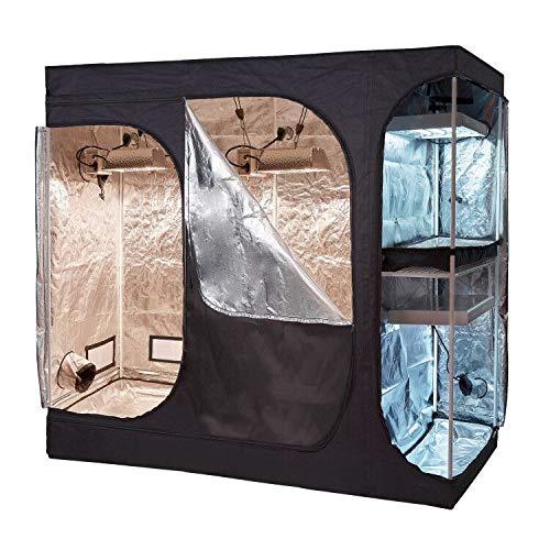 Oppolite 108'x48'x80' 2-in-1 Hydroponic Indoor Grow Tent Room Propagation High Reflective 600D Diamond Mylar Growing Plant w/Metal Corner