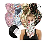 2 or 4 or 6 Packs Women Face Scarf Chiffon Mask Anti Dust Face Covers with Filters Reusable Sun Protection (4 Floral Pack with Filter, one Size)