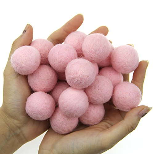 Zasy 30mm Needle Wool Felt Balls Foam Filled Wool Felt Pom Pom Home Decor DIY (Pink)