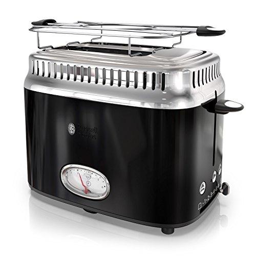 Russell Hobbs 2-Slice Retro Style Toaster, Black & Stainless Steel, TR9150BKR