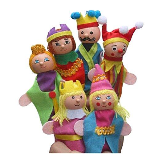 Blancho [King & Queen] Lot de 6 marionnettes à doigts pour enfants de 0 à 3 ans