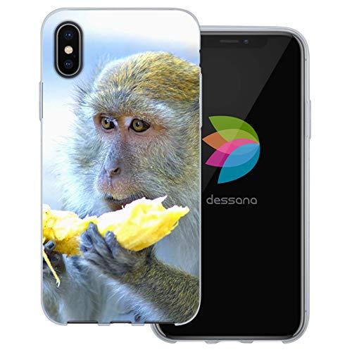 dessana apor transparent skyddsfodral mobiltelefon fodral fodral väska för Apple, Apple iPhone X, Affe med banan
