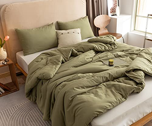 ROSGONIA Olive Green Comforter Set King- 3pcs (1 Comforter & 2 Pillowcases) Simple Style Solid Color King Comforter Set for Women and Men- Reversible Soft Warm Microfiber Comforter for All Season
