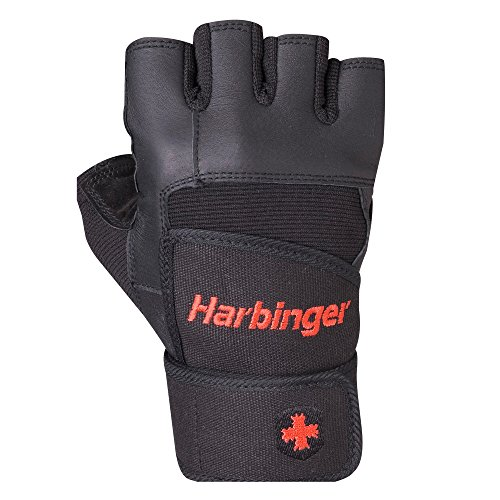 Harbinger Pro Wristwrap Weightlifting Gloves with Vented Cushioned Leather Palm (Old Style), Small
