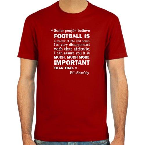 SpielRaum Camiseta Bill Shankly ::: Color: Negro, Verde Oliva, Azul Oscuro o Rojo ::: Tallas: S-XXL (Fútbol)