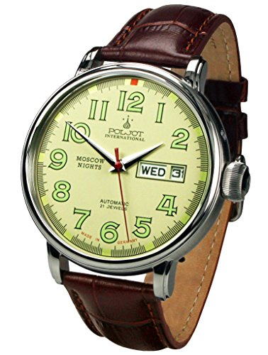 Mechanische Herrenuhr Automatik Moscow Nights Lederband Braun