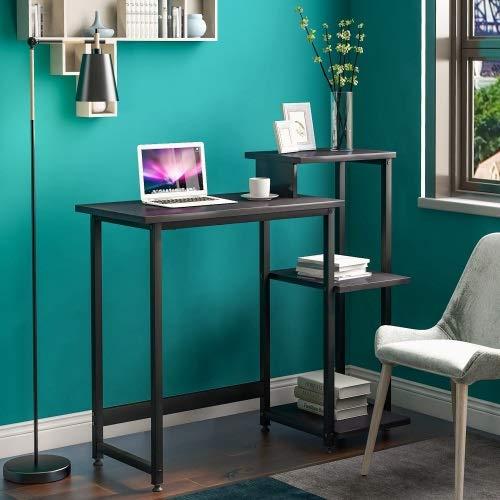 Mesa de escritorio con estantes de almacenamiento de 3 niveles Mesa de escritorio con estantería Tabla portátil con marco de acero para espacios pequeños Oficina para el hogar Estación de trabajo