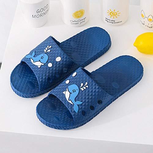 MQQM Zapatillas Baño de Estar por Casa Verano,Zapatillas de baño Antideslizantes con Fugas, Sandalias de Masaje para Parejas-Azul 1_44-45,Zapatillas de Ducha para Mujeres