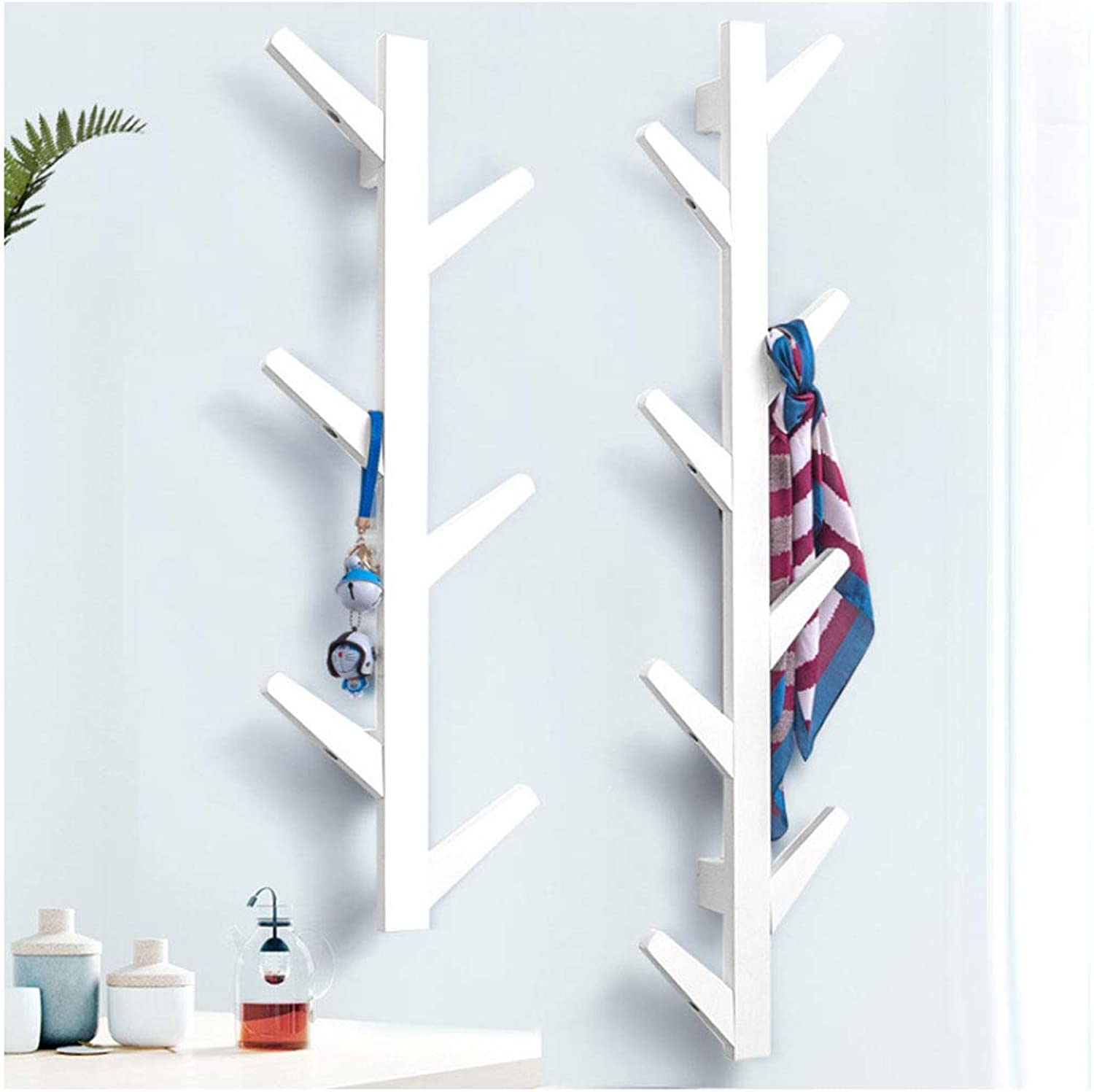 Creative Branch Wall Hanging Coat Rack Hall Hall Bedroom Decoration Multifunctional Hanger (color   White, Size   78cm(6hook))