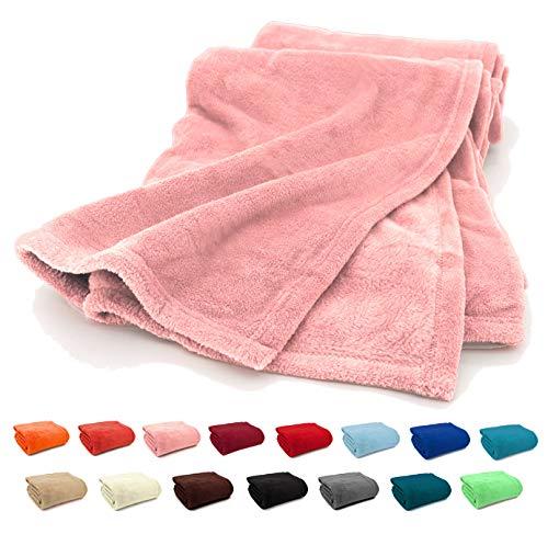 Fashion&Joy - Premium Flanell Kuscheldecke Super Soft 200 x 150 XL in rosa - pflegeleicht - fusselfrei - geprüfte Qualität - Ökotex zertifziert - Wohndecke in rosé Typ380