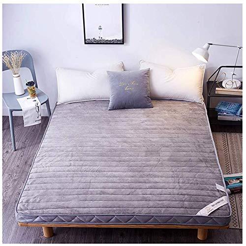 ZXL matras, ademend, flanel, stereoscopisch, Japanse futon, Japans bed, slaapzak, Queen King, dunne matras, wasbaar op topper (kleur: grijs, maat: 59 x 78,7 in)