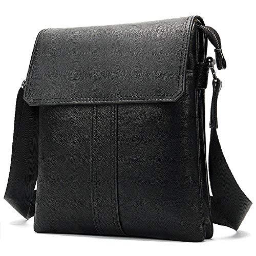 Bolso de Mensajero de los Hombres Bolso de la computadora de la Tableta del Bolso del Mensajero de la Cubierta del Bolso del maletín de Cuero Vertical-Negro