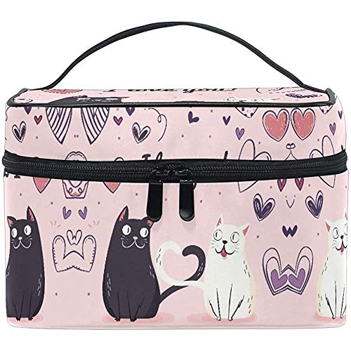 Trousse de Maquillage Rose Valentine 's Cat Heart Travel Cosmetic Pouch Organizer Portable Train Case Toiletry