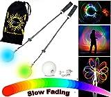 Pro Glow Poi - LED Poi Set + Stoff Reisetasche! Nachtleuchtender Poi inkl. Batterien. Langsam Fading...