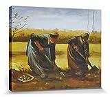 1art1 Vincent Van Gogh - Dos Campesinas Sacando Patatas, 1885 Cuadro, Lienzo Montado sobre Bastidor (50 x 40cm)