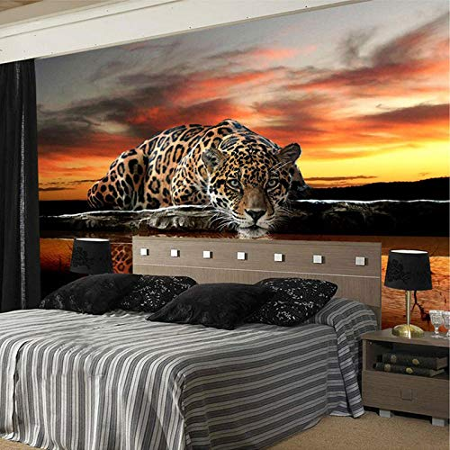 Foto behang 3D driedimensionale dier luipaard muurschildering behang woonkamer slaapkamer sofa achtergrond muurschildering behang-250 * 175cm