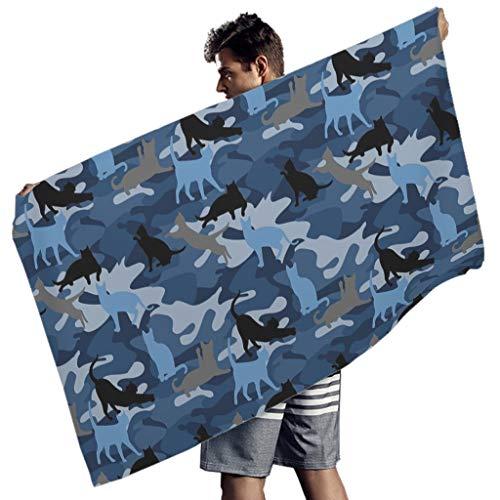 Perstonnoli Blau Camouflage Katze Strandtuch Microfaser Strandtücher Leicht Strandhandtuch Badetuch Picknickdecke Strandmatte Yoga Matten Sporthandtuch Rechteckig White 150x75 cm