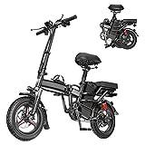 Bicicleta eléctrica plegable Bicicleta eléctrica de cercanías de 14 '' 350 W Bicicleta eléctrica plegable portátil para adultos con batería de 48 V 10 A, frenos de disco dual, soporte de peso 440LBS