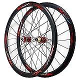 ZFF 700C Freno Disco Bicicleta Carretera Juego De Ruedas Ciclocross La Carretera Delantera Trasero Rueda V/C Freno 40MM 7/8/9/10/11/12 Velocidad Liberación Rápida (Color : Red)