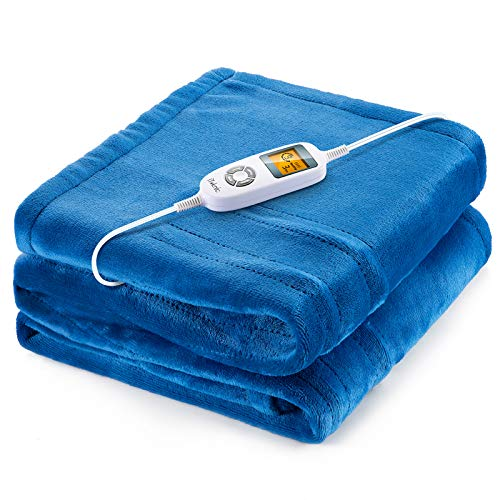 "iTeknic Heated Blanket Electric Throw, 60""x 50"" Flannel Electric Blanket with 10 Heating Levels & 1H/2H/3H Auto Off, ETL Certified, Overheating Protection Heated Throw, Machine Washable (Blue)"