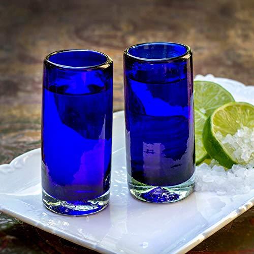 Juego de 2 Vasos de chupito de Mitien, de Cristal, Azul, de Tequila, de Vodka, de 9 cm, Vidrio soplado artesanalmente de México, para Regalo