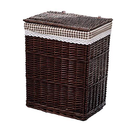 MAHFEI-Storage mand geweven mand vuile kleding Sundries Opslag met deksel hand weven eenvoudige en natuurlijke hoge capaciteit slijtvaste slaapkamer rieten