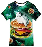 RAISEVERN Kids 3D T Shirts Boys Girls Short Sleeve Tees Children Summer Shirt Crewneck Novelty Cat Hamburger Graphic Printed Tops for School Sport Playwear Size 6-8T