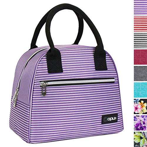 OPUX Lunch Tote Bag | Insulated Lunch Box for Women Girls| Medium Reusable Soft Striped Lunch Purse Cooler for School, Work, Office | Fits 12 Cans (Purple White Stripes)