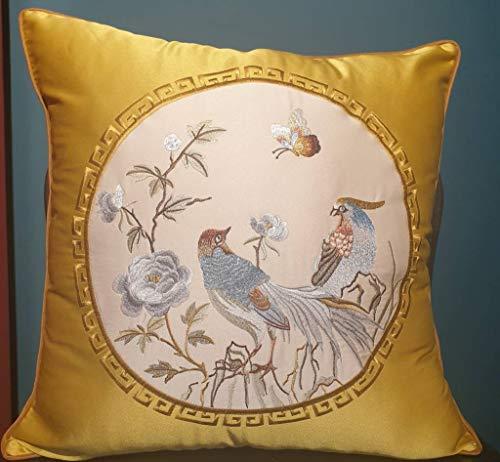 Fine Asianliving Chinese Kussen Zijde Handgeborduurd Vogels 50x50cm