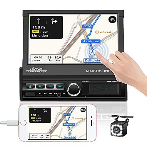 Autoradio 1 Din Bluetooth navigatore GPS Autoradio Ricevitore 7 Pollici Touchscreen Capacitivo Lettore MP5 con Retrocameraa a 12 luci FM USB Ingresso AUX TF Microfono Integrato Mirror Link Telecomando