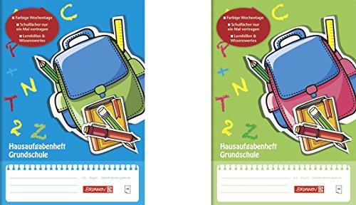 Brunnen 1046807 Hausaufgabenheft (A5, 48 Blatt, Grundschule, mit Schutzumschlag, 2 Motive)