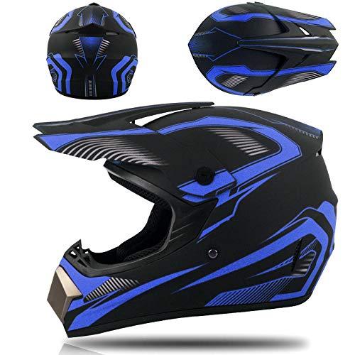 Motorhelm full cover offroad helm integraalhelm met driedelig pak-Donkerblauw phantom_L