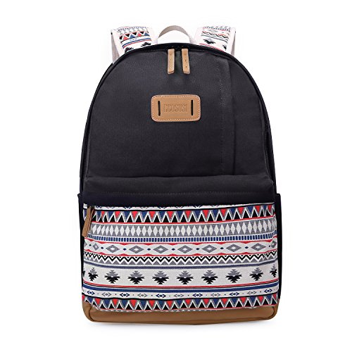 ECOSUSI Backpack for Girls Striped Laptop Backpack Cute School College Casual Daypack for Teens Girls, Black