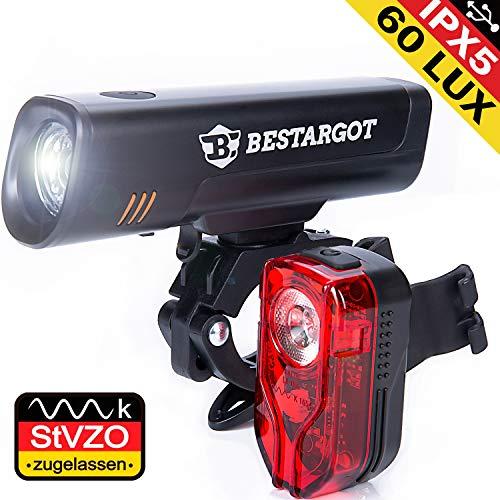Bestargot LED Fahrradlicht Set, StVZO Zugelassen LED Fahrradbeleuchtung Fahrradlampe fahrradlichter USB Wiederaufladbare Set Wasserdicht Frontlicht Rücklicht 2600mAh 300Lumen Licht für Fahrrad Set