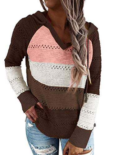 Hikaro - Sudadera de punto para mujer con capucha para invierno A-marrón. L