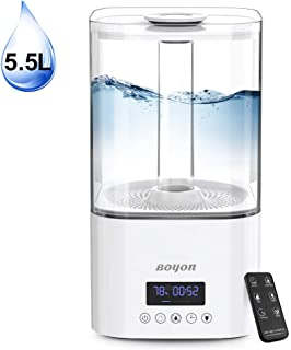 BOYON Ultrasonic Cool Mist Humidifier 5.5L, Top Fill Humidifiers with Humidistat, Vaporizer with 3 Mist Settings, Waterless Auto-off, LED Display with Nightlight, Last up to 40H