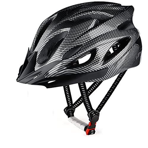 RaMokey Cycle Helmet, Lightweight Bicycle Helmet, Adjustable Mountain & Road Bike Helmets for Adults, 18 Vents with Adjustable Strap & Detachable Visor for Mens Womens (Head Sizes 58-62cm) (Black)