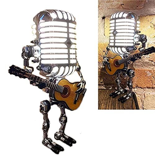 Vintage Microphone Robot Touch Dimmer Lamp Table Lamp - Robot Desk Lamp, Retro Cool Cute Table Lamp Industrial Table Lamp, Steampunk Decoration for Bedrooms,Bar and Restaurant (Encender)