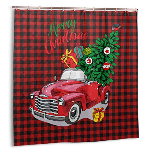 Red Truck Shower Curtain Merry Christmas Rustic Red Truck Pine Shower Curtain Red and Black Buffalo Plaid Shower Curtain Black and Red Buffalo Check Shower Curtain