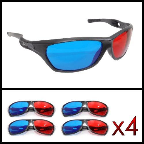 Ganzoo - Gafas 3D para televisión y juegos de ordenador (rojo y azul, 4 unidades)