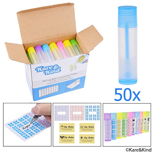 Lip Balm Container Tubes - FDA Goedgekeurd - BPA-vrij - 50-Pack - DIY - Doorschijnend - 3/16 Oz (5,5 ml) - Inclusief 50 beschrijfbare & 50 bedrukte lippenbalsem Stickers - Draaimechanisme en een pet - Leeg - Maak natuurlijke lippenbalsem